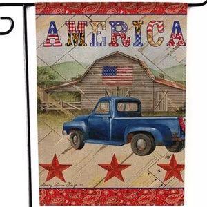 Garden Flag- New- Country Blue Truck Barn Flag USA